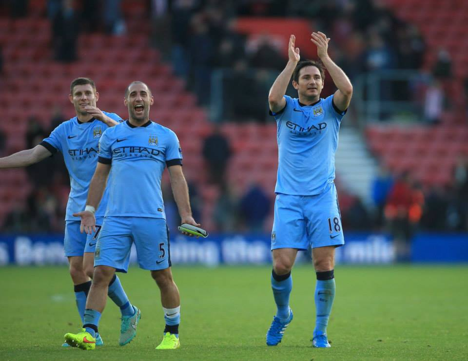 Take a bow - Milly, Zaba and Lamps show their appreciation for City's travelling support. Courtesy@MCFC