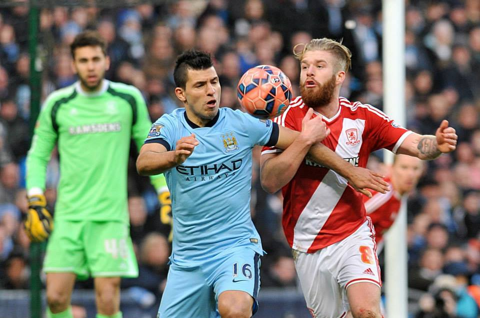 Penalty denied - Sergio had a bona fide appeal waved away by ref Phil Dowd after ex-City man Adam Clayton bundled the Argentine to the ground. Courtesy@MCFC