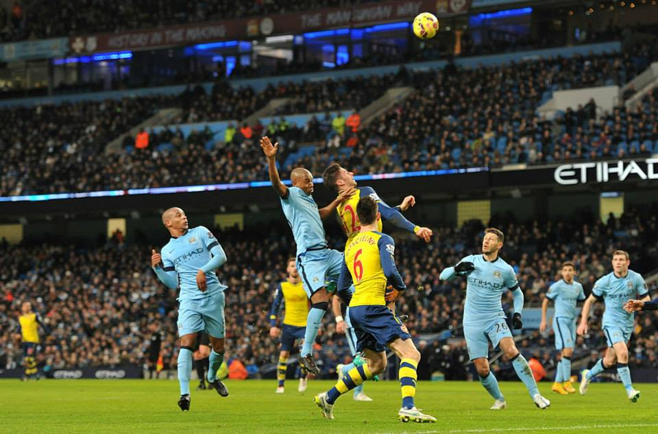 Head & Shoulders - Giroud rose above the City defence to score past Joe Hart. Courtesy@MCFC