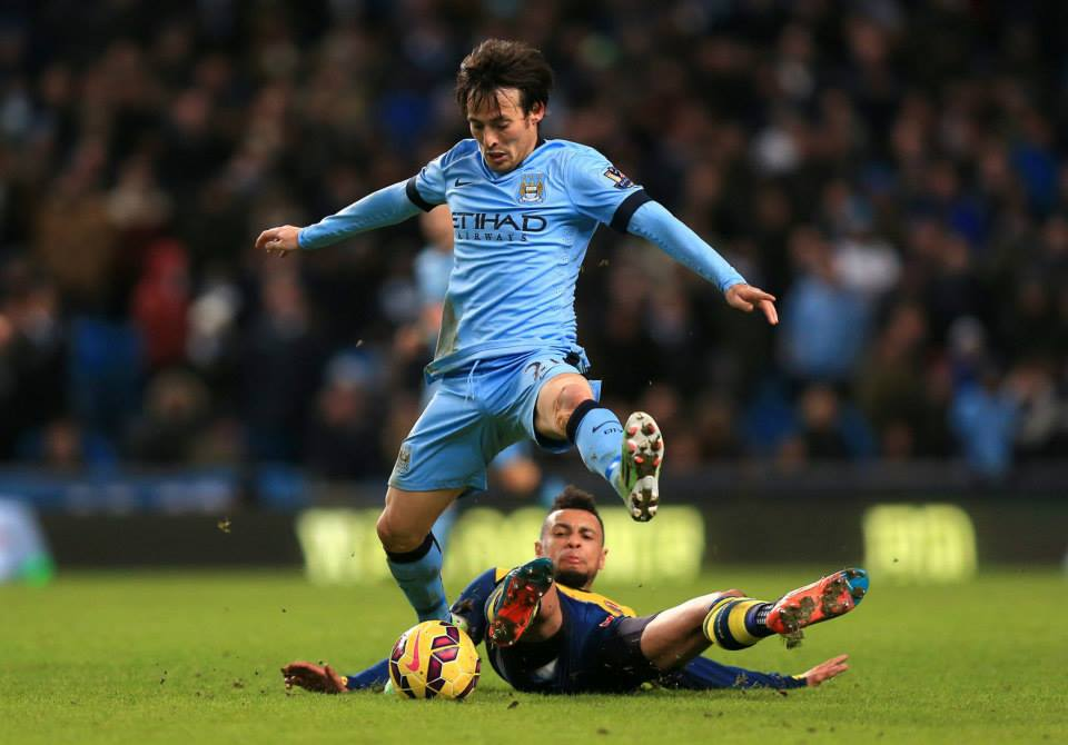 Snuffed out - Merlin's magic dust never settled as Silva was hurried and hassled by dogged Arsenal defending. Courtesy@MCFC