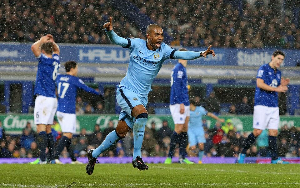 Dino delight - Fernandinho celebrates his goal at Goodison last weekend, but City had to settle for a 1-1 draw. Courtesy@MCFC