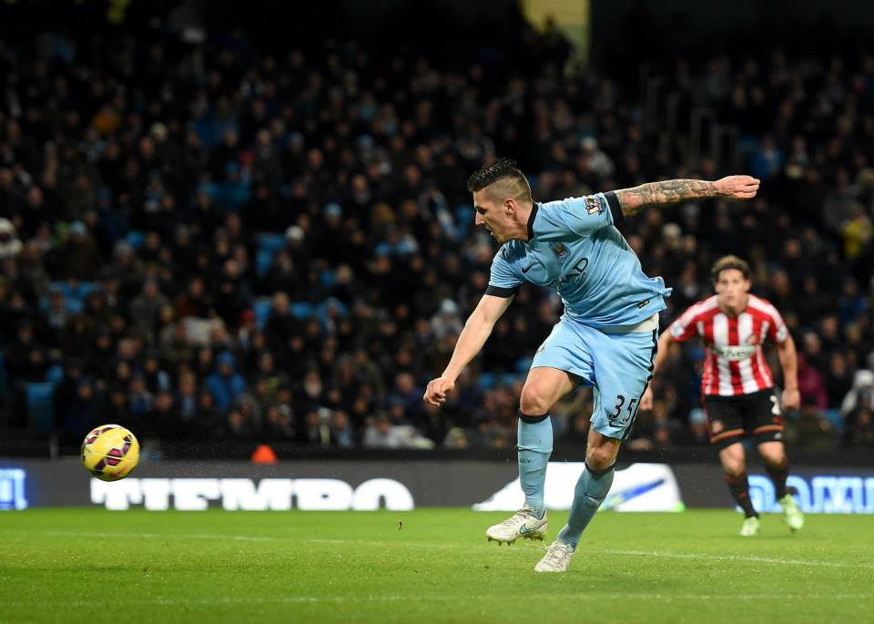Happy New Year - Jovetic helped ensure City were off to a flyer in 2015, scoring against Sunderland. Courtesy@MCFC
