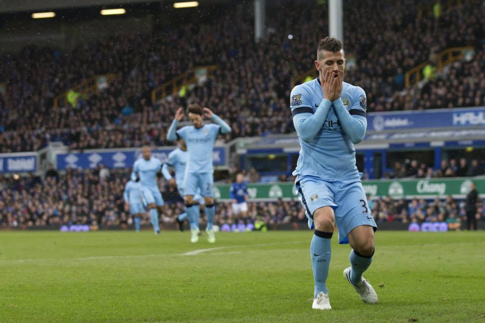 Near miss - Jovetic is under increasing pressure to produce the goods following his £22m move from Fiorentina. Courtesy@MCFC