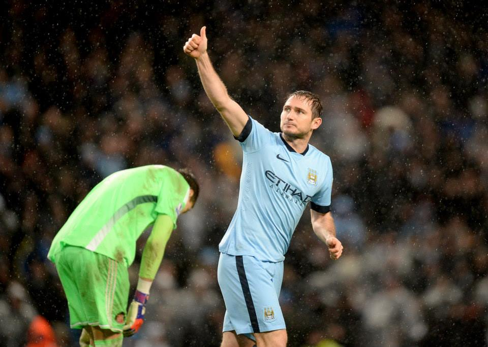Thumbs Up - Super Frank acknowledges his winning goal in the 3-2 New Year's Day win over Sunderland. Courtesy@MCFC