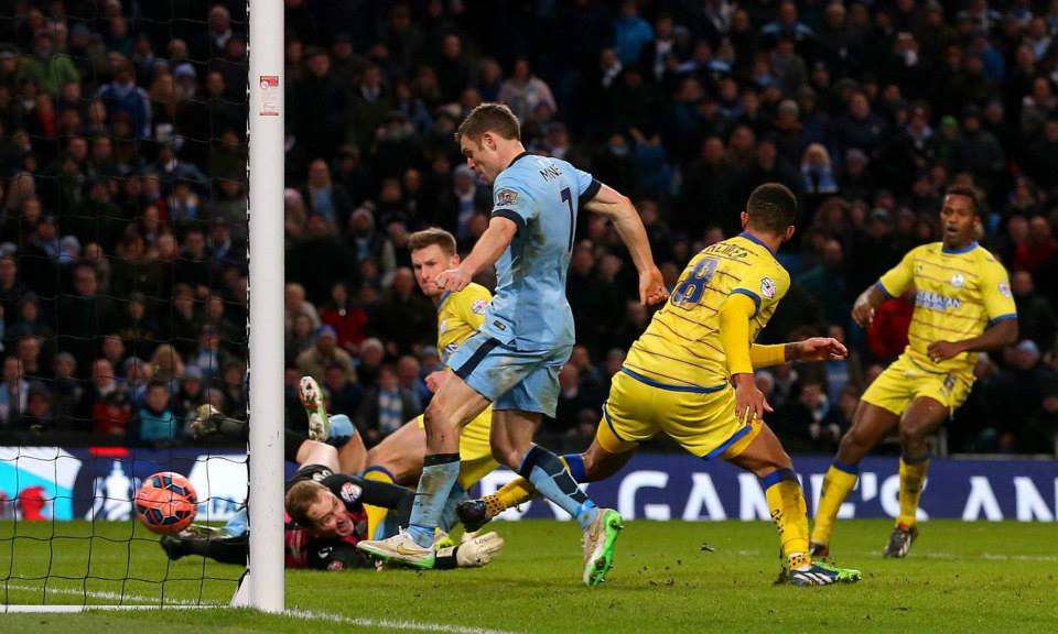 Makeshift Milner - City have suffered with injuries - Jimmy scored a brace against the Owls in the FA Cup. Courtesy@MCFC