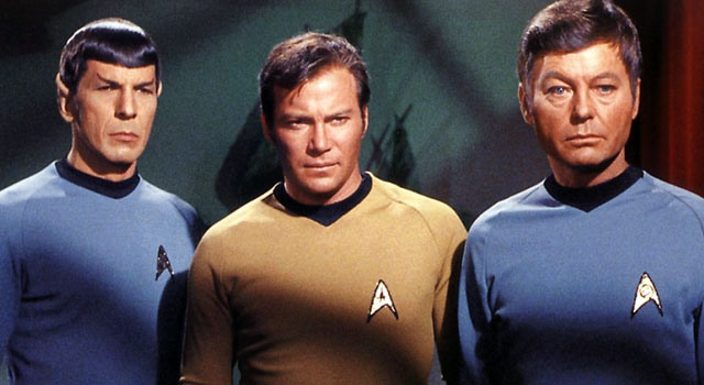 To boldly go... - Star Trek's Captain Kirk, flanked by Mr Spock (left) & Dr. 'Bones' McCoy.