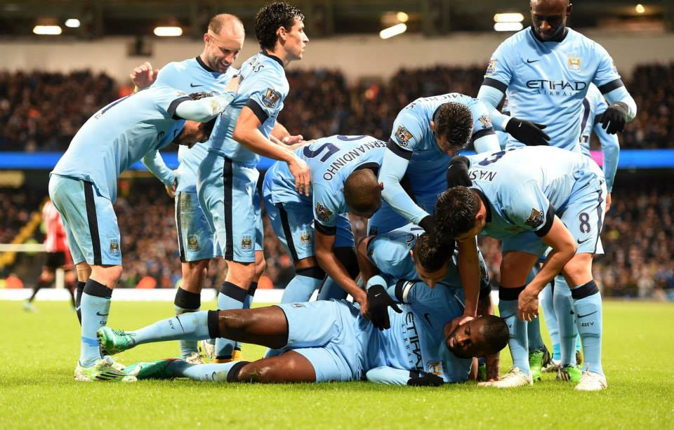Carry on winning - City celebrate Yaya's stuning strike against Sunderland at the start of 2015. Courtesy@MCFC