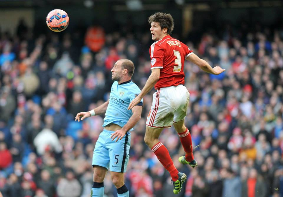 Friend or Foe - Zaba couldn't help his team beat George Friend and Boro to progress in the FA Cup. Courtesy@MCFC