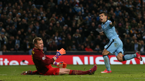 Vital strike - Sergio handed City a lifeline at 2-1. Courtesy@MCFC