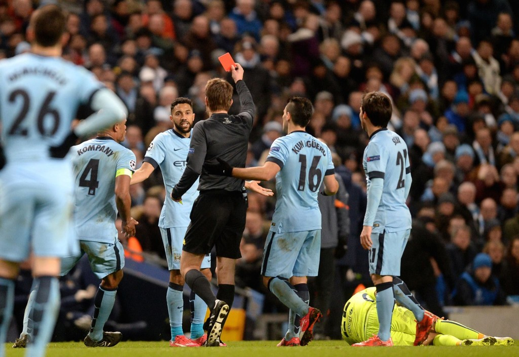 Third strike - Clichy is sent off - one of three City defenders shown the red card against Barcelona in 12 months. Courtesy@MCFC