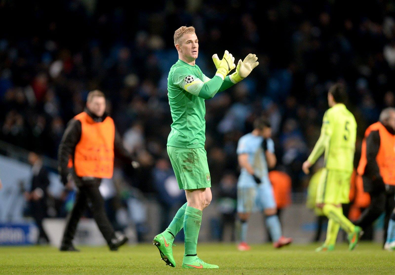 Let's hear it for the boys - Joe returns the appreciation to City's grateful fans. Courtesy@MCFC