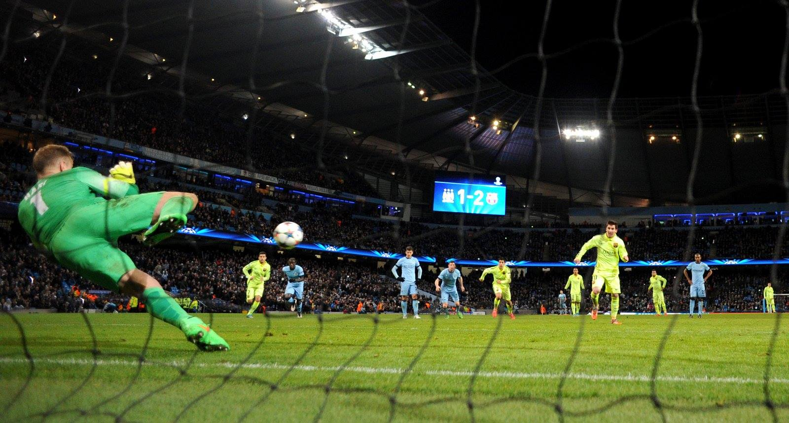 Saviour - Joe Hart stops Messi's last minute penalty. Courtesy@MCFC