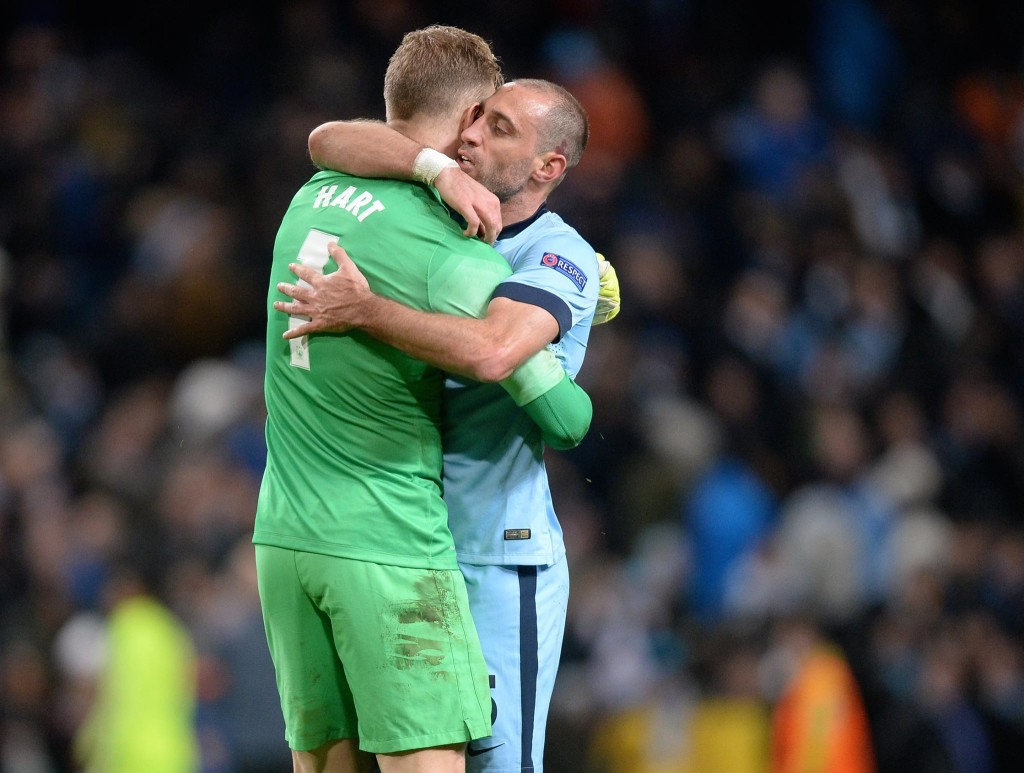 Gracias - Zaba congratulates Joe after his dramatic heroics. Courtesy@MCFC