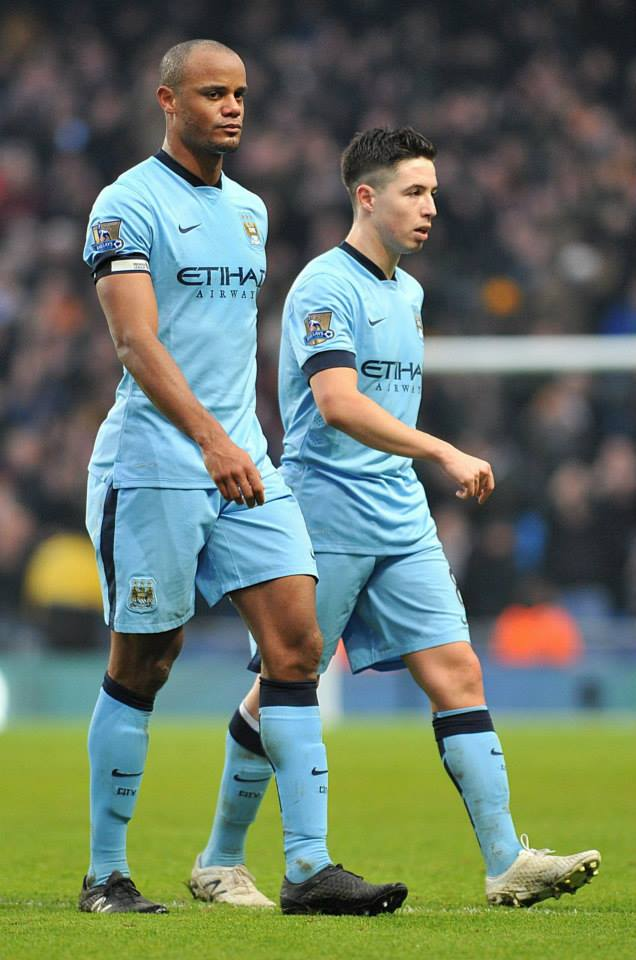 Parting company - Captain Vincent Kompany returned against Swansea but Samir Nasri has most likely played his last game for City. Courtesy@MCFC