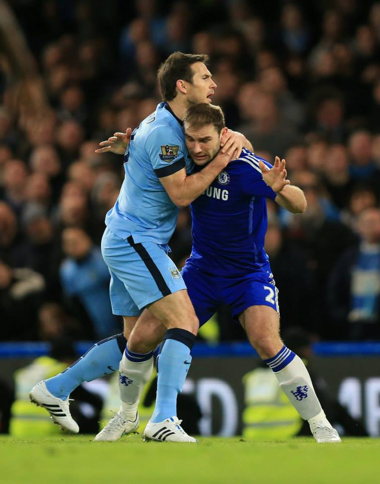 Embracing the moment - Super Frankie got to grips with former team mate Branislav Ivanovic. Courtesy@MCFC