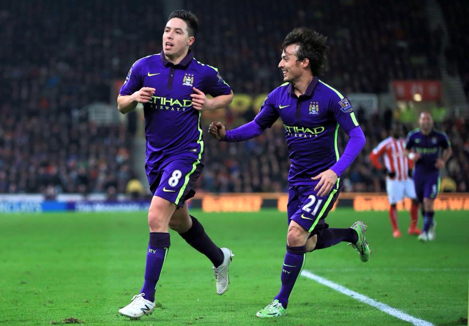 Perfect combination - Nasri and Silva orchestrated City's handsome 4-1 win over Stoke. Courtesy@MCFC