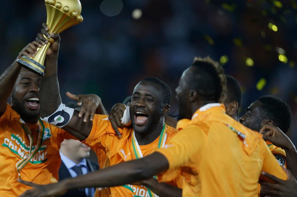 It's a celebration - Yaya has already tasted sweet success as Ivory Coast skipper when he lifted the African Cup of Nations in February. Courtesy@MCFC