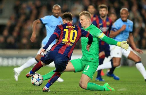 The Joe Show - Hart thwarts Messi for the umpteenth time in the Nou Camp. Courtesy@MCFC