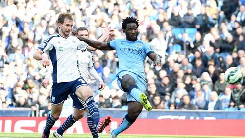 Sweet spot - Bony hit the first of City's three goals against WBA. Courtesy@MCFC