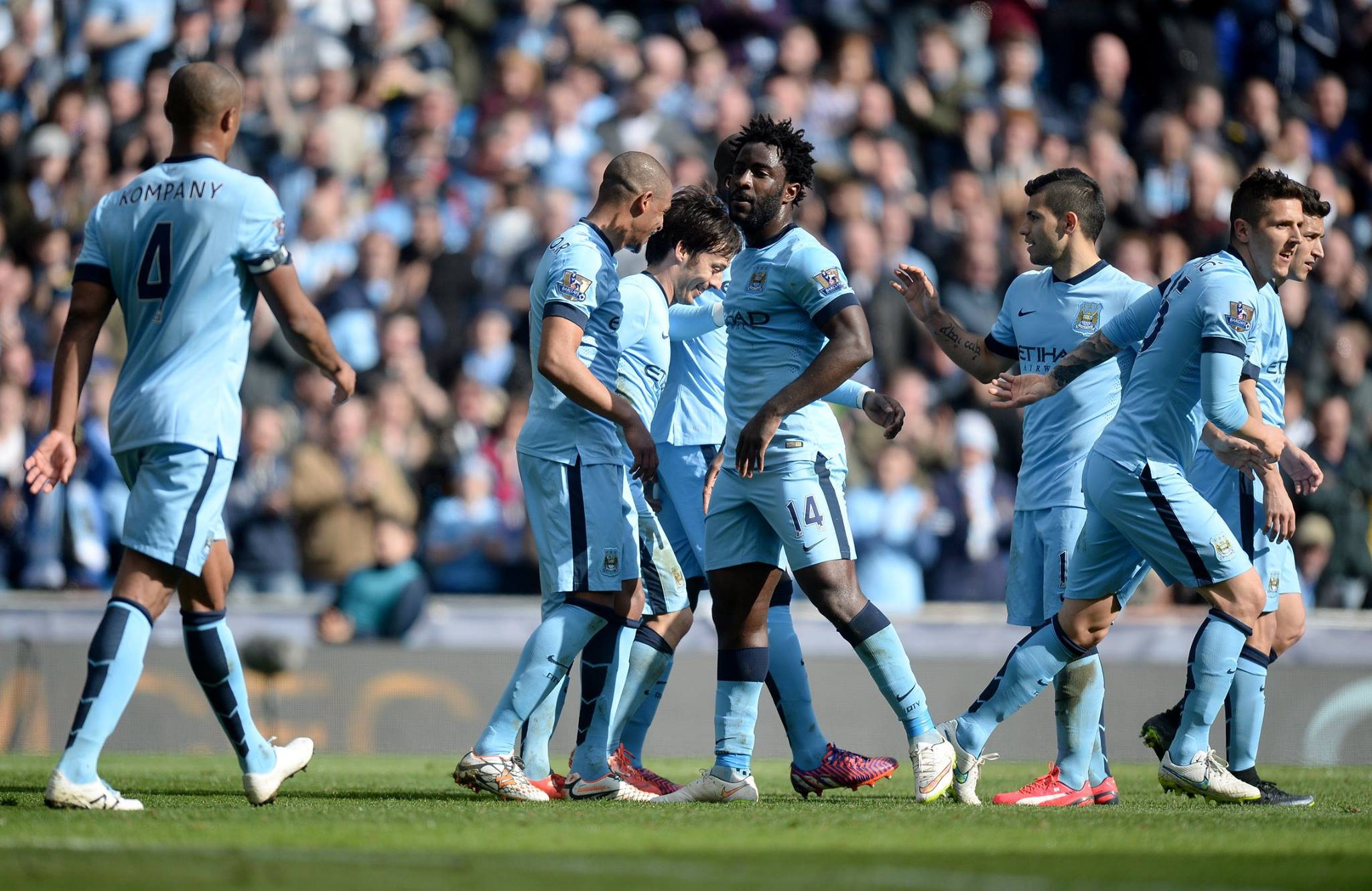 Silva service - Merlin celebrated goal number 11 in the Premier League this season. Courtesy@MCFC