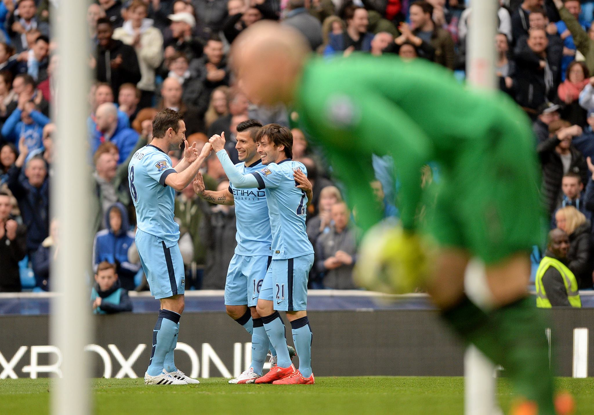 The joy of giving - Brad Guzan earned an assist for Aguero's opening goal. Courtesy@MCFC