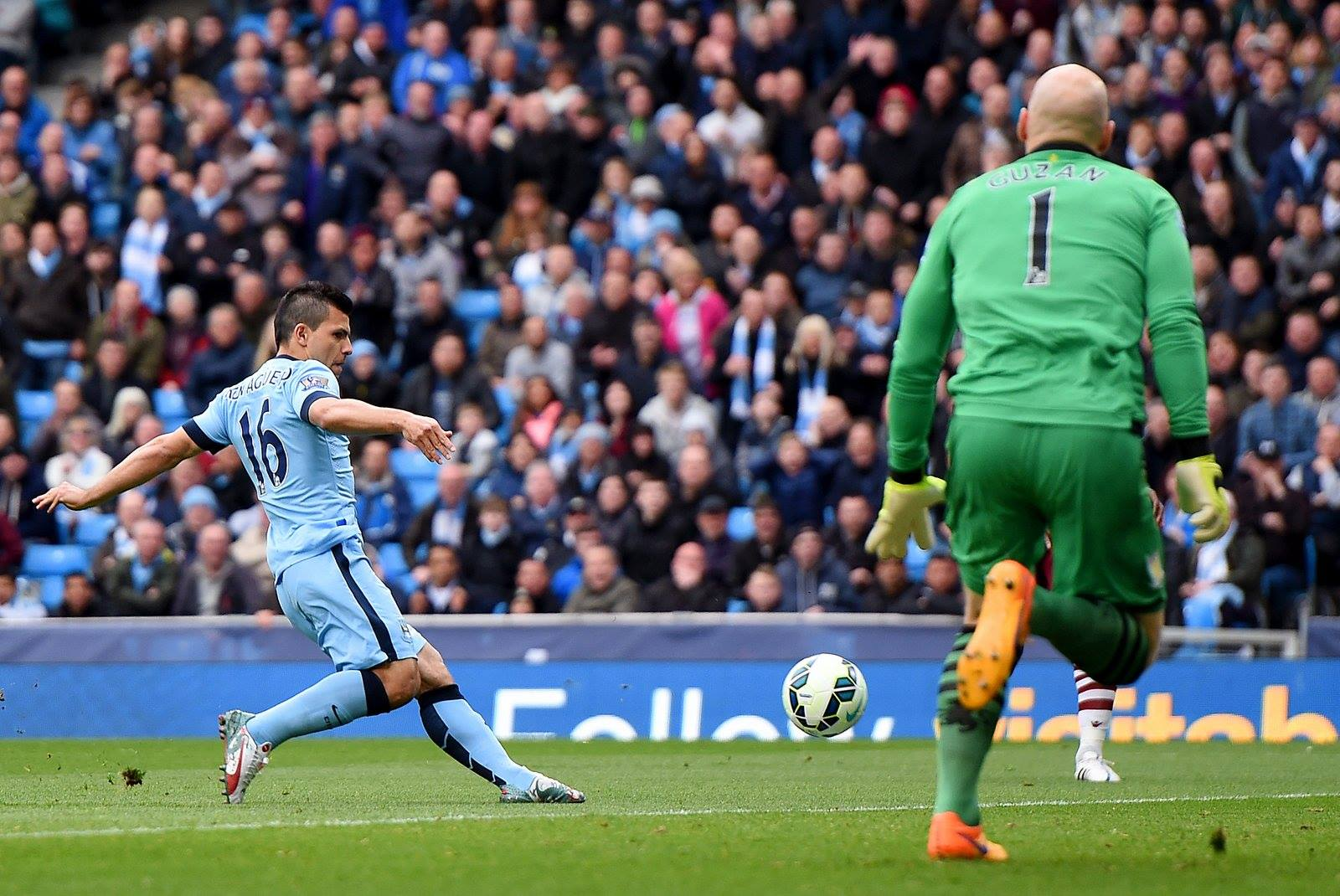 21 today - Sergio slots home the goal that puts him top of the race for the Golden Boot. Courtesy@MCFC