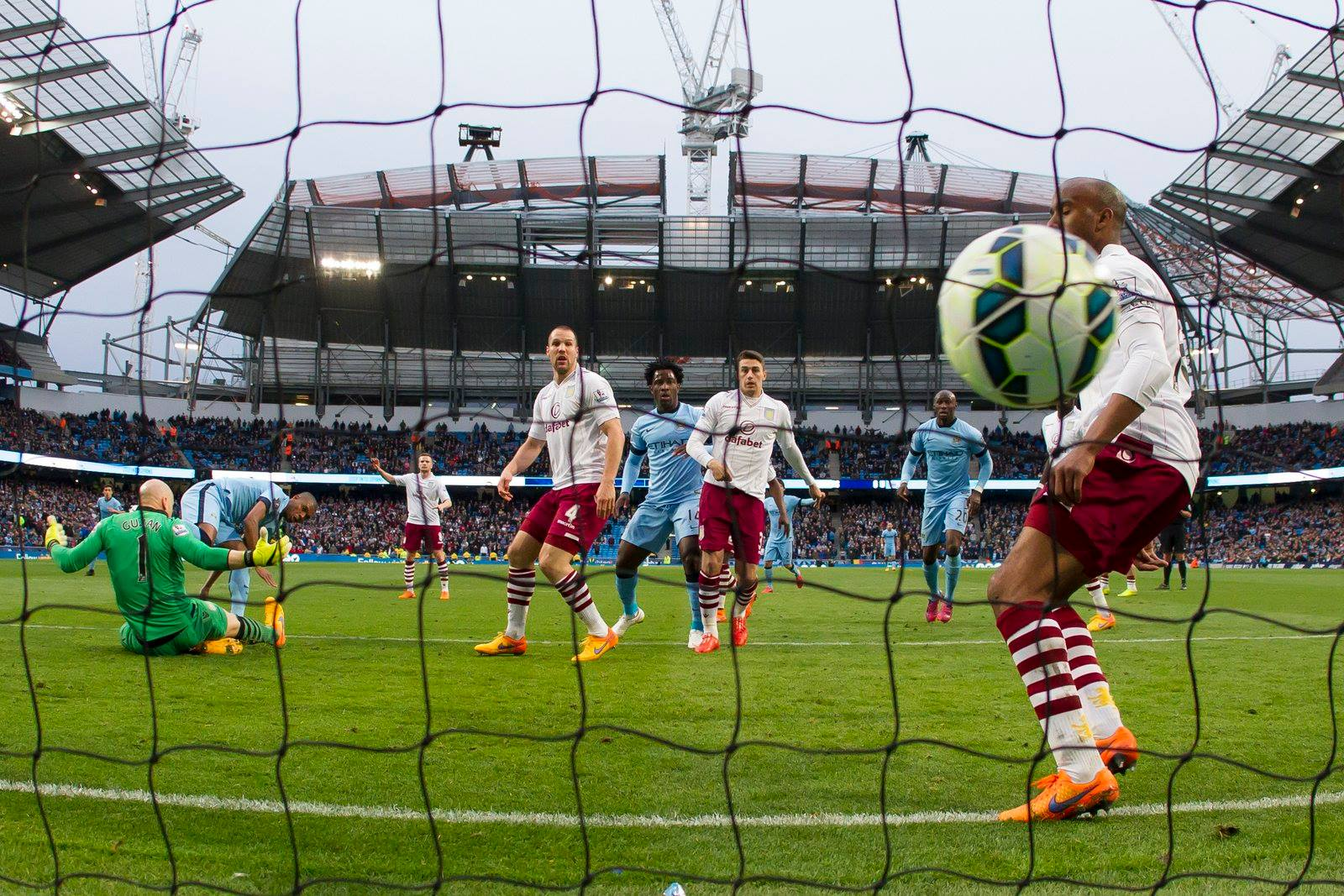Nine out of nine points - Fernandinho smashes home a late goal against Villa during City's present three game winning run Courtesy@MCFC