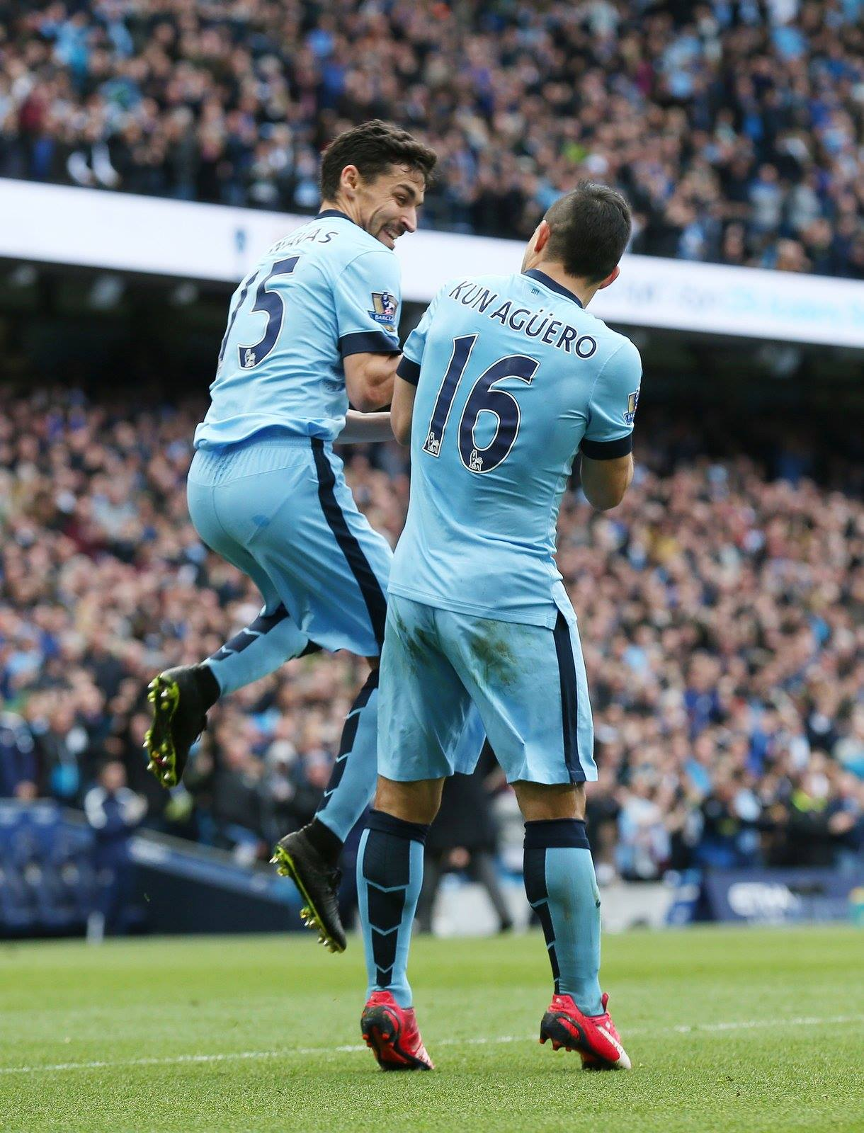 Fancy bumping into you - Jesus and Sergio celebrate against West Ham. Courtesy@MCFC