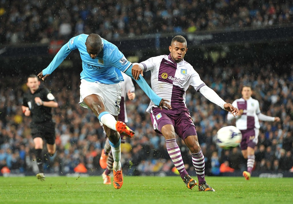 Sweet success - Yaya fires home City's 100th league goal last season en-route to the Premier League title. Courtesy@MCFC
