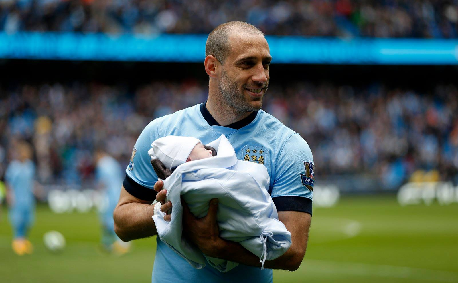 New arrival - Zaba has to stay at the Etihad next season, along with newborn son Asier. Courtesy@MCFC