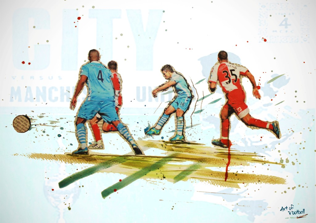 Masterpiece - you could win this beautiful print of the 93.20 Aguerrrrrooo Moment in our competition with Art of Football.