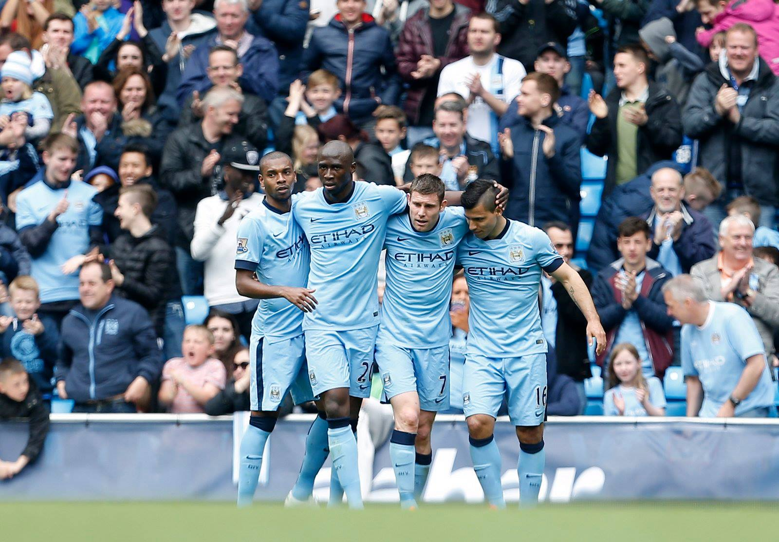 Four score - City players celebrate after taking maximum points from their last four games. Courtesy@MCFC