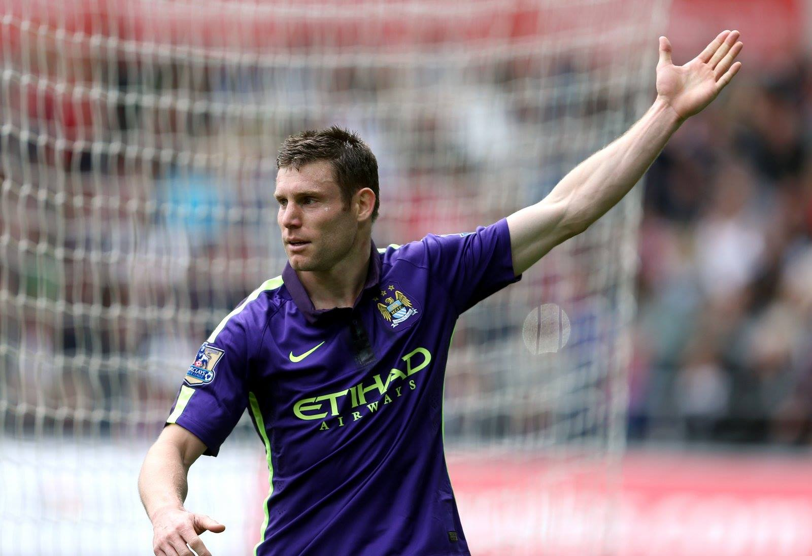 Final salute - Milner scored at Swansea before leaving City and heading down the East Lancs Road to Liverpool. Courtesy@MCFC