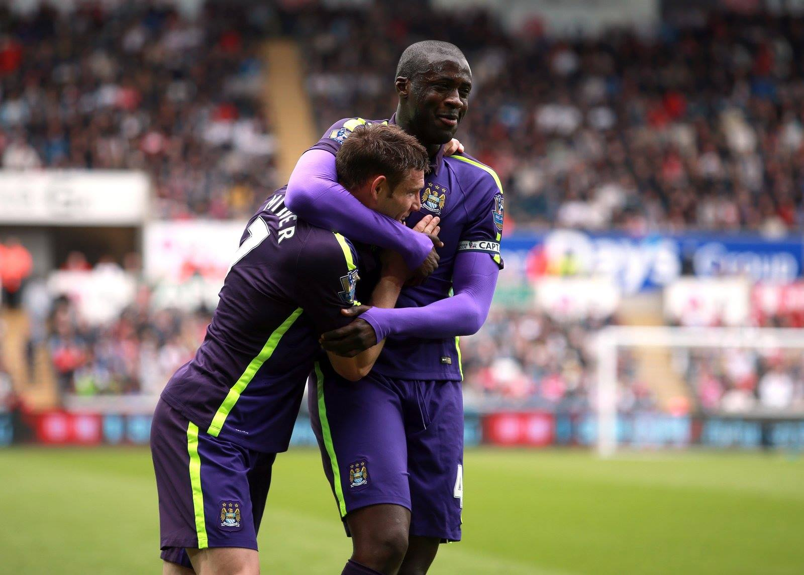 Double celebration - James and Yaya celebrate their City goals in a well deserved 4-2 win at Swansea. Courtesy@MCFC