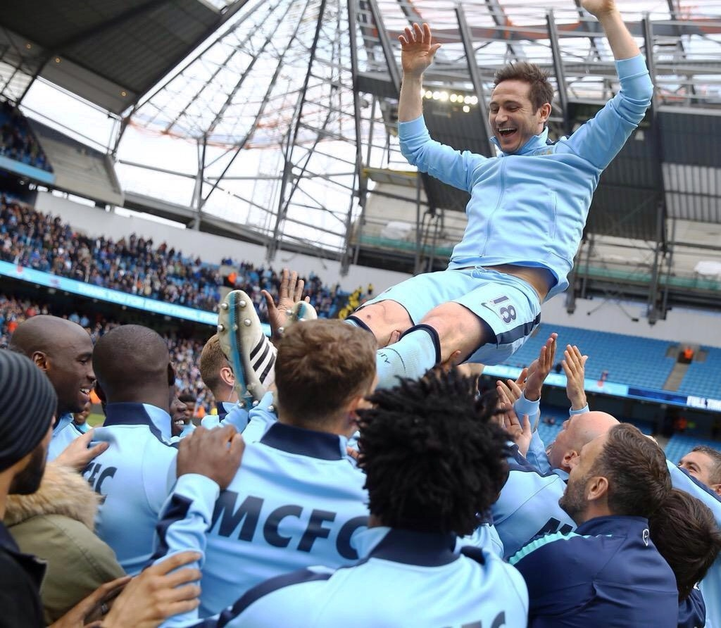 Flyaway Frank - Lampard receives a lofty send off from his team mates. Courtesy@MCFC
