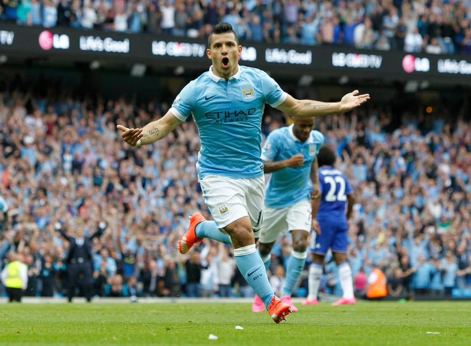 Let the celebrations begin - Aguerrroooo gets the party started at the Etihad. Courtesy@MCFC