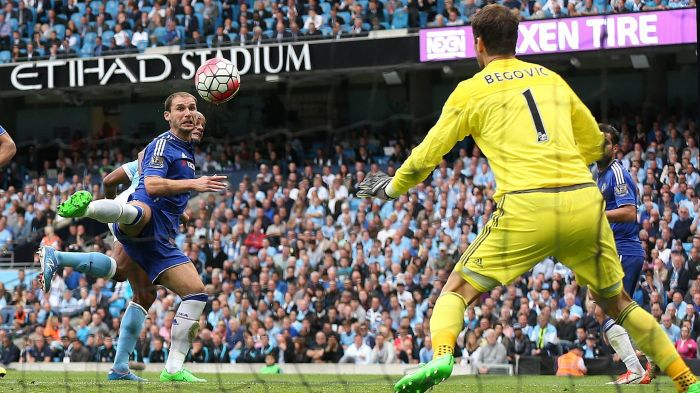 Incoming - City's skipper outmuscles Ivanovic and glances City's 2nd goal past Begovic. Courtesy@MCFC