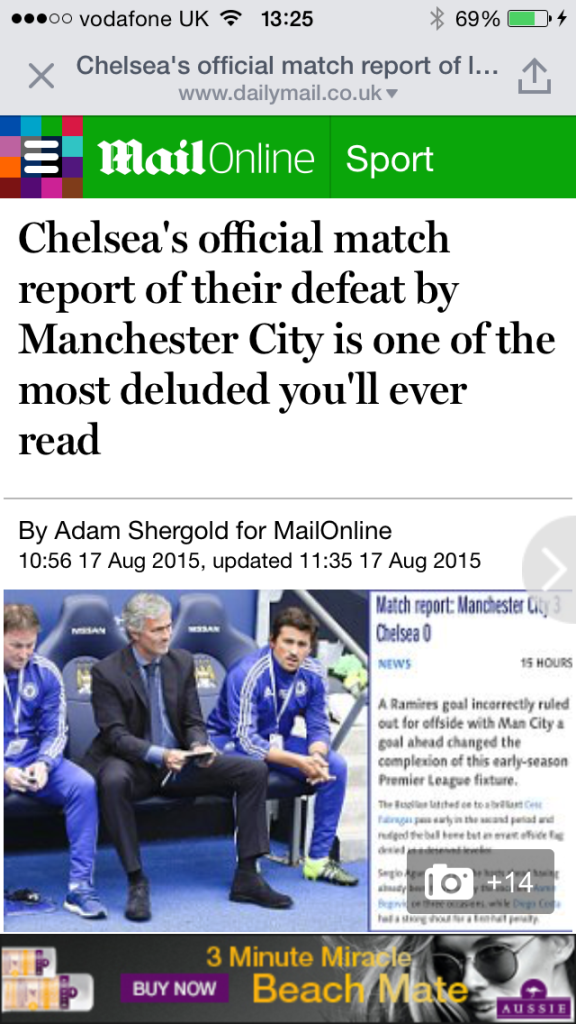 Deluded - Even the Daily Fail condemned the Official Chelsea website's Etihad match report.