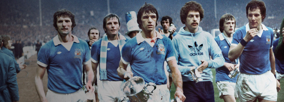 We've won the cup, we've won the cup... City with the 1976 League Cup at Wembley