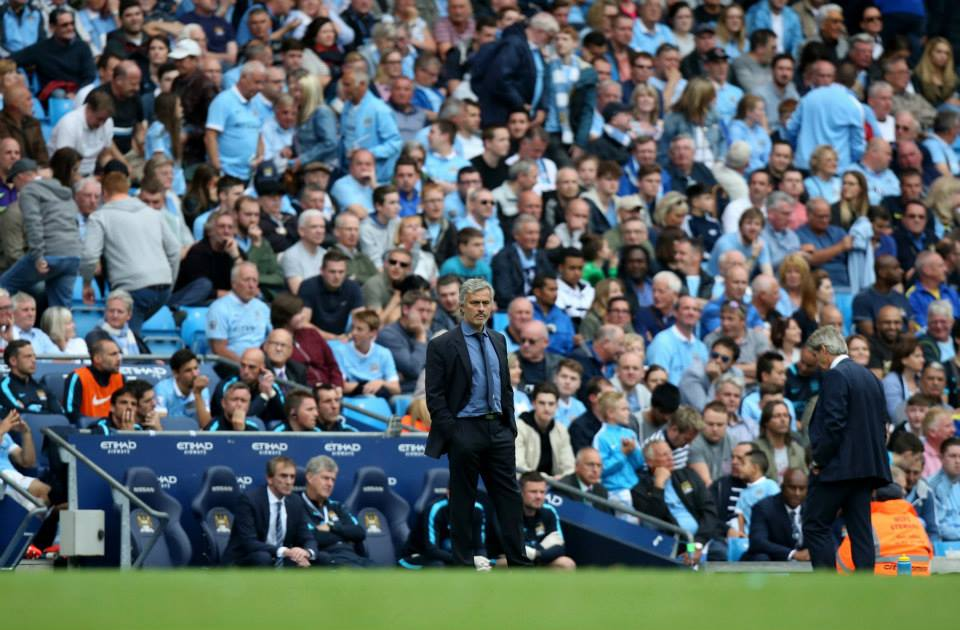 Poles apart - Thank goodness City have Pellegrini at the helm and not Mourinho. Courtesy@MCFC