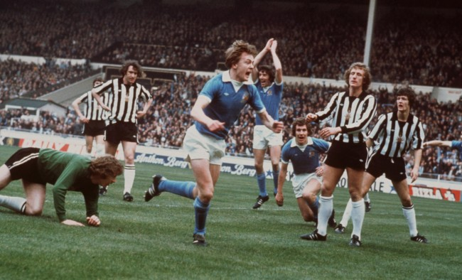 Wembley Joy - Peter Barnes set City on the way to a 2-1 League Cup Final win in 1976.