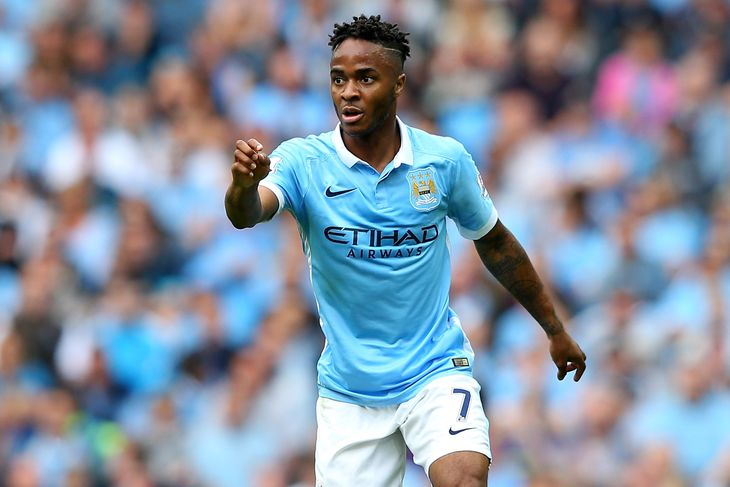 Pointing the way - Raheem Sterling is settling well following his £44m switch from Liverpool.