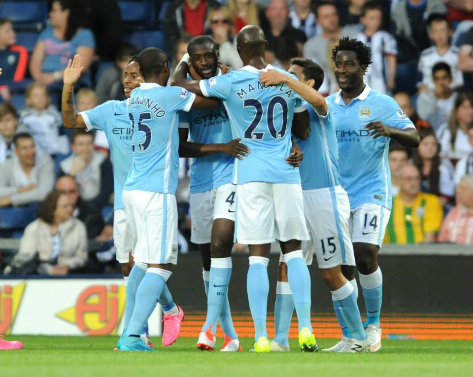 Start as you mean to go on - Yaya Toure and his team mates celebrate his goal at WBA. Courtesy@MCFC