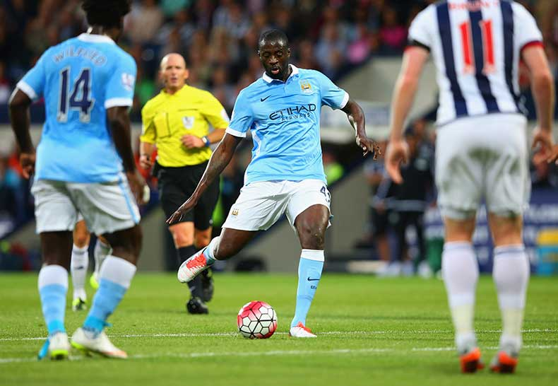 Goalbound - there was no disputing who scored City's stunning second goal - a certain Yaya Toure. Courtesy@MCFC