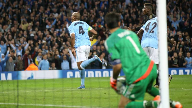 Captain Fantastic - Kompany wheels away after forcing Chiellini into an own goal. Courtesy@MCFC