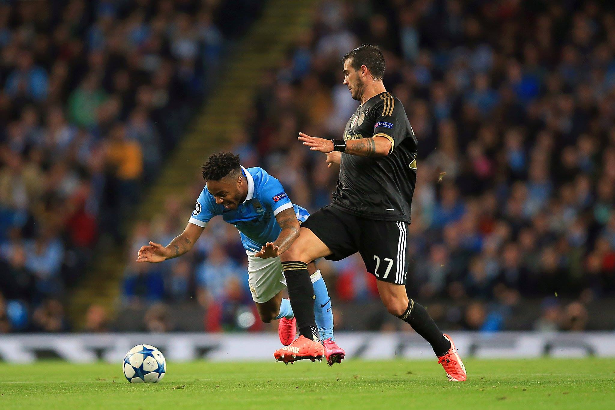 Sterling takes a pounding - City's No7 was on the receiving end of some heavy Juventus challenges. Courtesy@MCFC