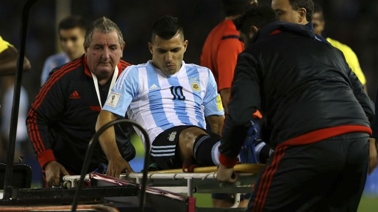 Sorry sight - Sergio is stretchered off with a hamstring injury playing for Argentina.