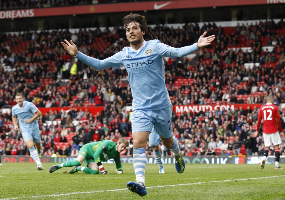 Silva and City Gold - David celebrates City's fifth in the 'Sick Swan' goalfest.