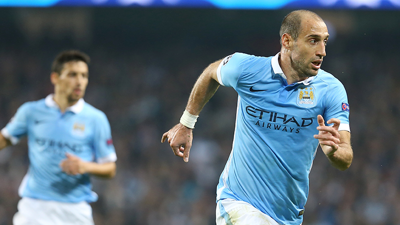 In the running - Zabaleta is just about ready to return to help stem the goals flowing into City's net. Courtesy@MCFC