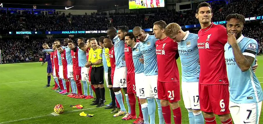 Solidarity - City and Liverpool players link arms as the French national anthem played at the Etihad in the aftermath of the Paris terrorist atrocities.
